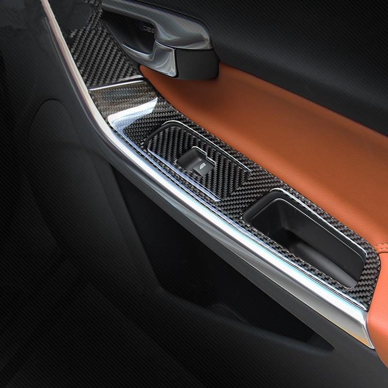 Carbon Fiber Car Door Armrest Panel Decoration Cover Trim For Volvo