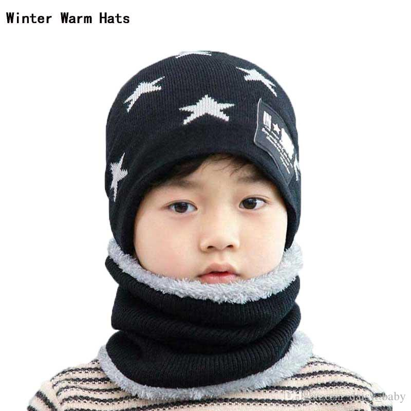 Winter Baby Hats Scarf Set Kids Girls Hat And Scarves Suit 2018 Infant Boys  Velvet Star Print Knit Beanie Caps Accessories UK 2019 From Daisy baby a1fba5a49f4c