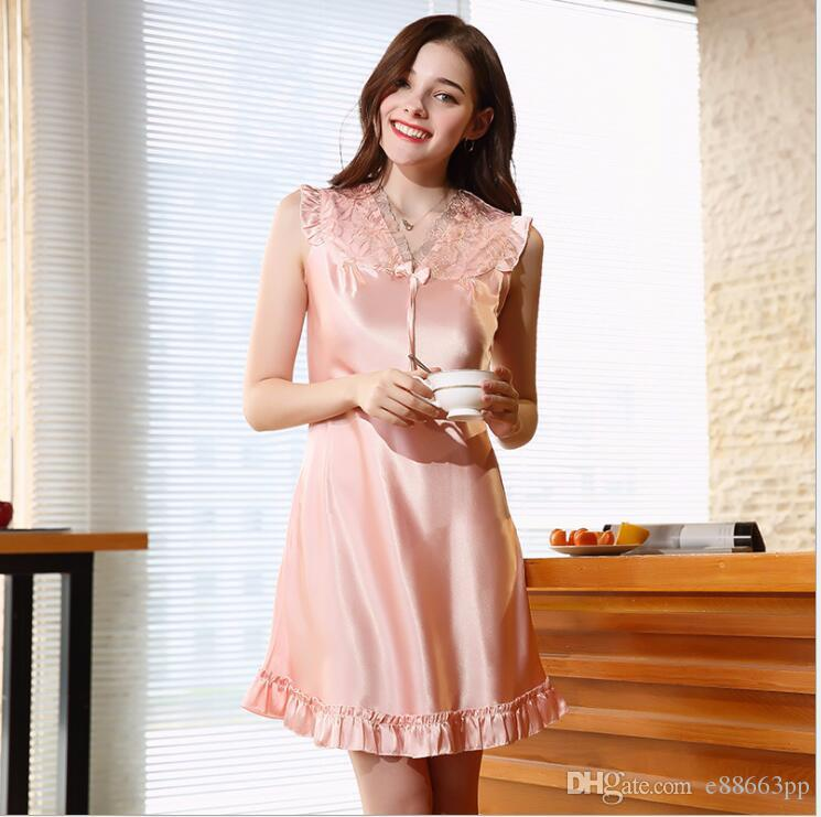 ed38aa7953 Women Nightgown Robe Summer Kimono Bathrobe Short Sleeve Satin Robes ...