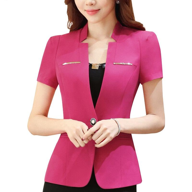 New spring Summer elegant women blazer OL formal slim short sleeve jacket office ladies plus size Casual Coat
