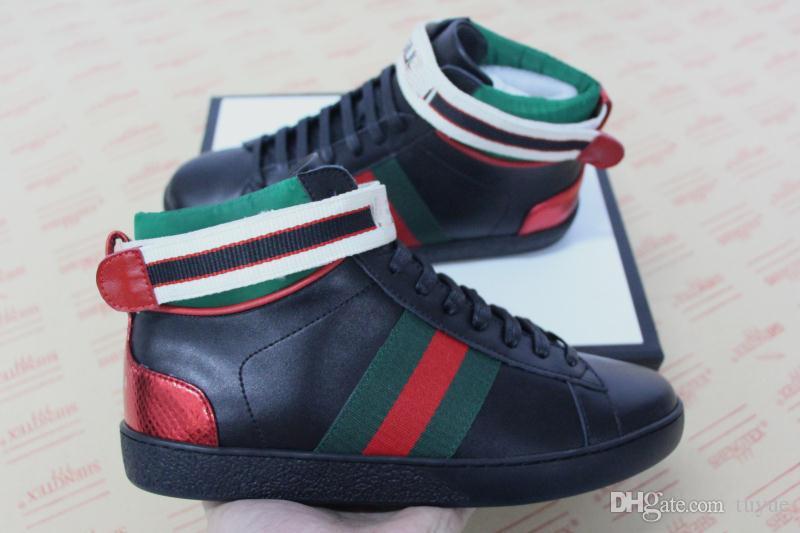 9a8b11102a3 2018 New Fashion Mens Designer Shoes White Black Jacquard Stripe Ace ...