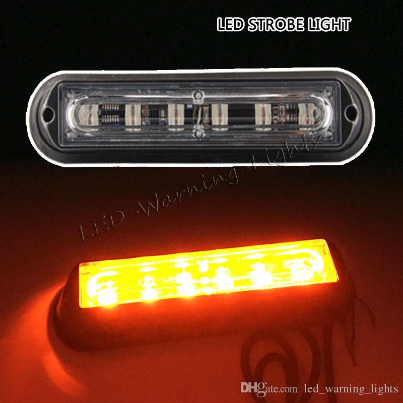 6inch 6w Truck Strobe Light Amber Led Emergency Signal Flashing Lamp
