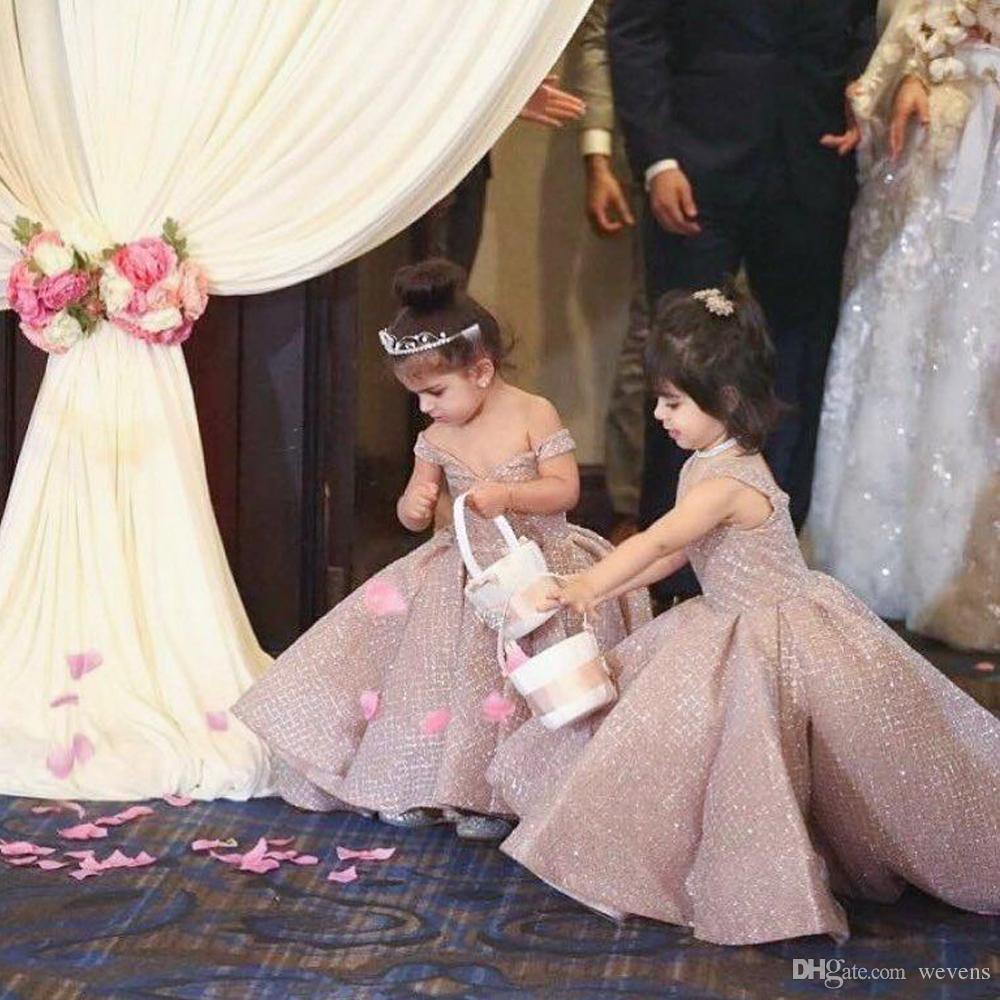c29f8486c8b Shining Front Short Back Long Flower Girl Dresses For Weddings Off Shoulder  Sequin Asymmetrical Hem Ball Gown Children Pageant Dress Dresses For Flower  Girl ...