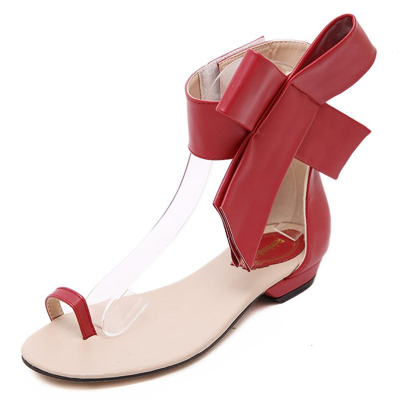 626bf8e758c88a 2018 Woman Sandals Casual Retro Red Black Bow Big Bowtie Flats Sandals  Summer Women Fashion Flats Women Sandalias Mujer White Wedges Cheap Shoes  For Women ...