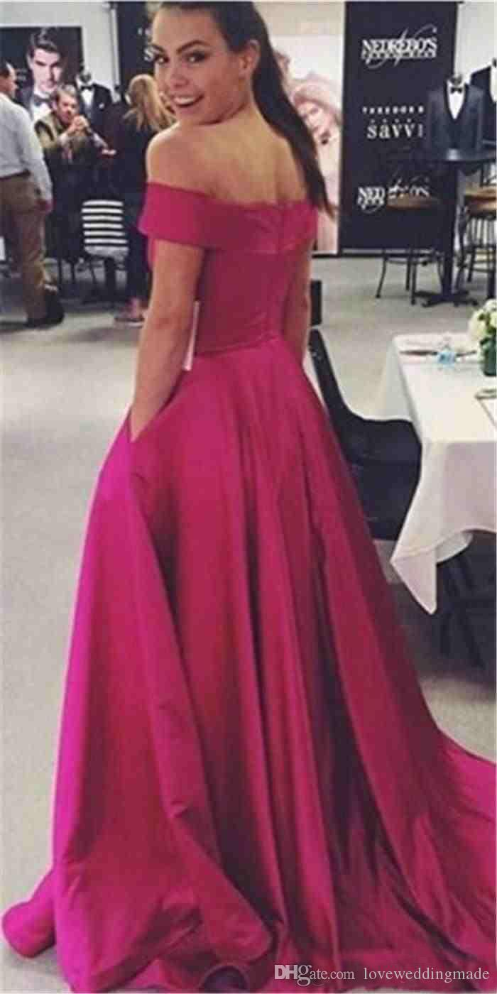 Fuchsia Satin Long Off Shoulder Party Evening Dresses Cheap Elegant A Line Prom Gowns With Pocket Celebrity Clothing