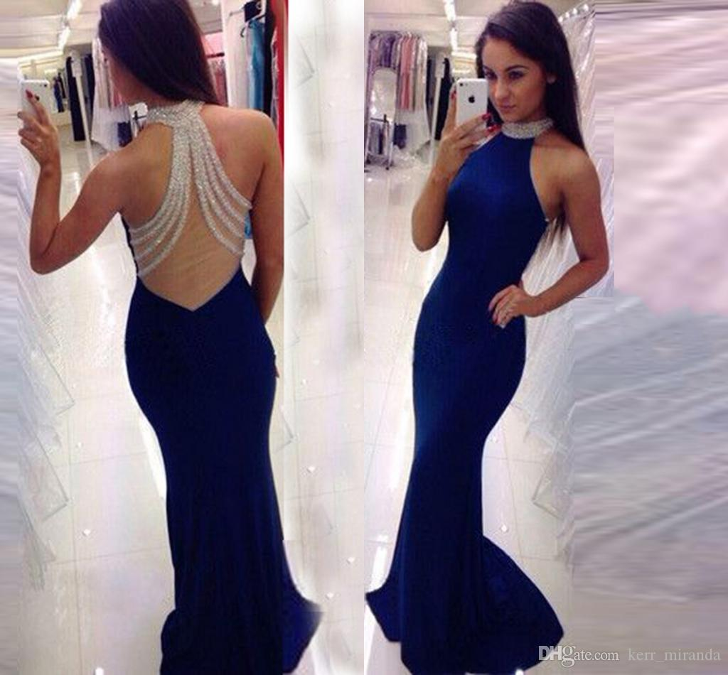 5ff5b8b095 New Fashion Long Banquet Elegant Banquet Prom Gowns Halter Fishtail Long  Party Evening Dresses Mermaid Prom Dresses HY1536