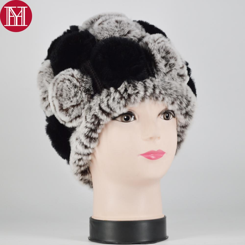 New Women Rex Rabbit Fur Knitted Hats Lady Winter Hats for Girls Skull Cap Real Fur Knitting Rabbit Skullies Beanies Female Hat