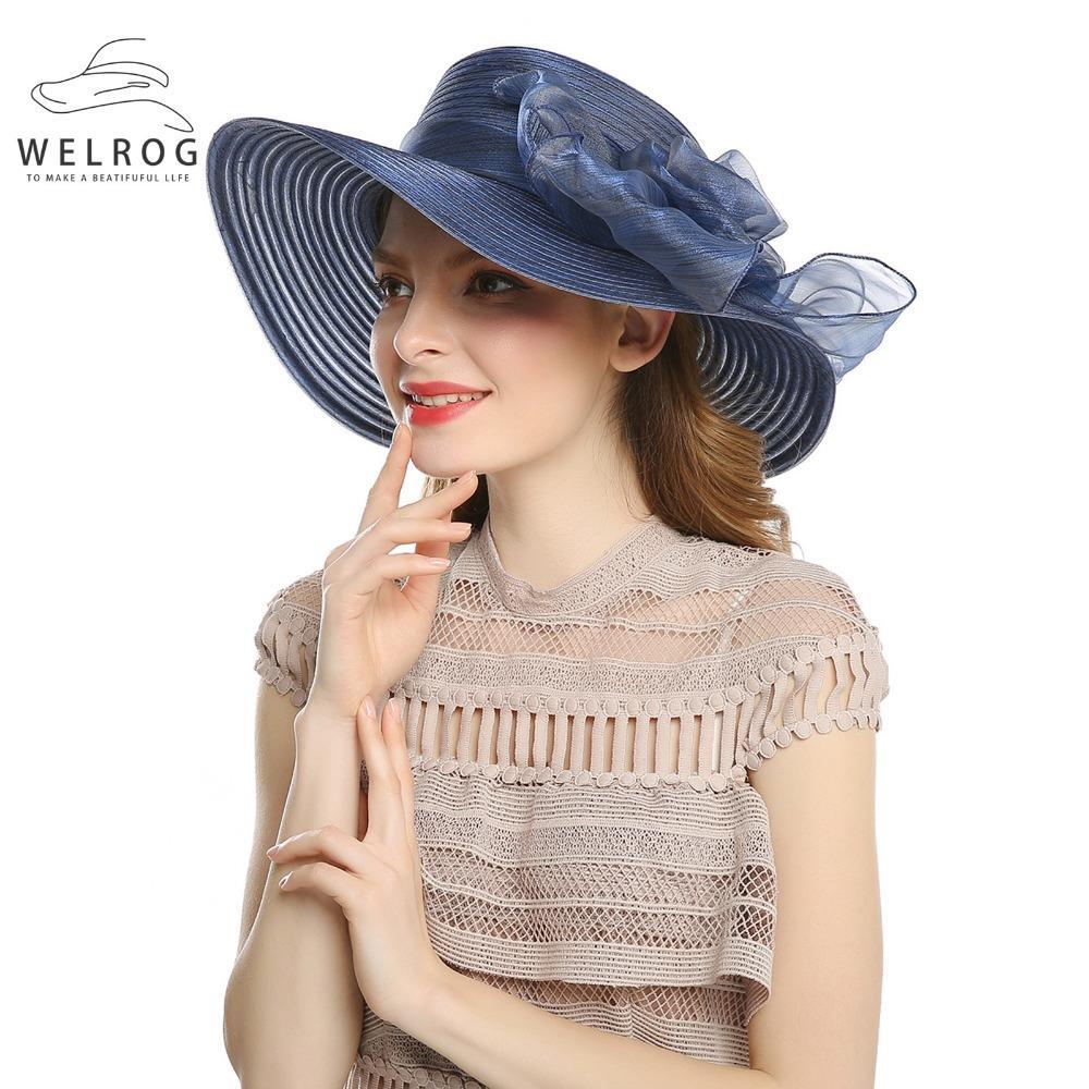 36100c6c363cd 2019 WELROG Spring Women S Cap Wide Brim Sombrero Ladies Elegant Hats Women  Bow Flower Dress Chapeau Femme Large Fedora From Boiline