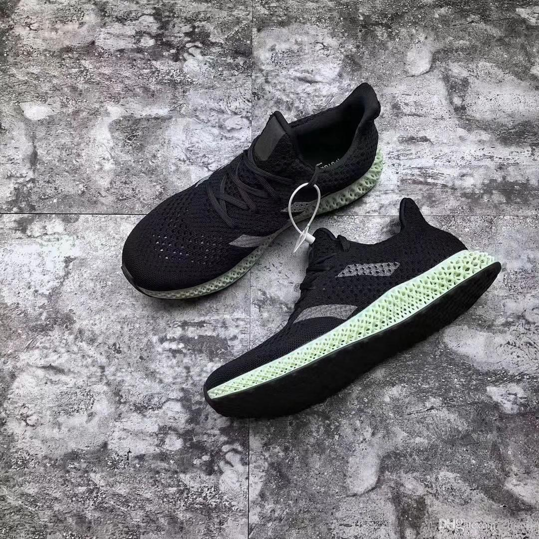 newest 4c861 8ab3d 2019 2018 Futurecraft 4D Ash Green Print 4D Runner Originals CORE BLACK Man  Woman Running Shoes Authentic Sneakers With Box From China5,  163.46    DHgate.