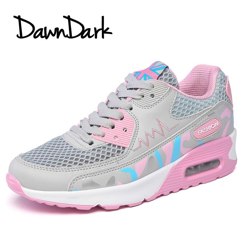 buy popular e1c46 4bbda Acheter Chaussures De Course Pour Les Femmes Air Cushion Lace Up Chaussures  De Sport Pour Femmes Printemps Eté Dames En Plein Air Marche Jogging  Baskets De ...