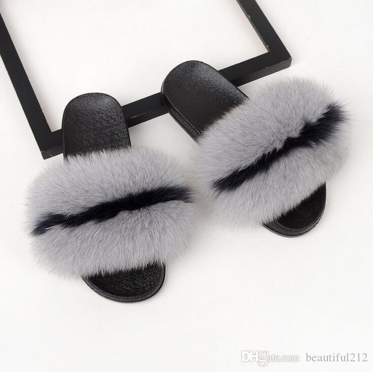 187969d2737e34 Coolsa Luxury Women S Fox Fur Slippers Fluffy Real Hair Designer Flip Flops  Ladies Cute Sandal Fashion Furry Woman Womens Loafers Fashion Shoes From ...