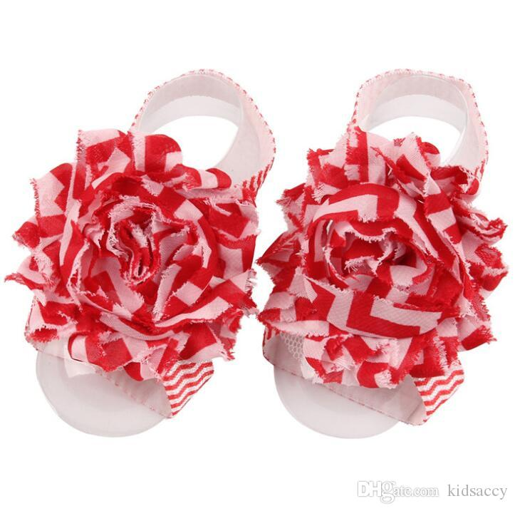 Baby Sandals Flower Shoes Cover Barefoot Foot Wave Flower Ties Infant Girl Kids First Walker Shoes Photography Props A139
