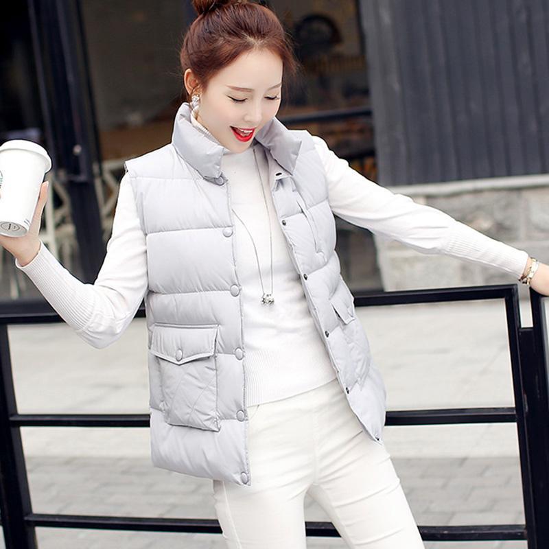 2018 Autumn New Fashion Sleeveless Down Jacket Pocket Slim Waistcoat ... 6dd4e78649e4