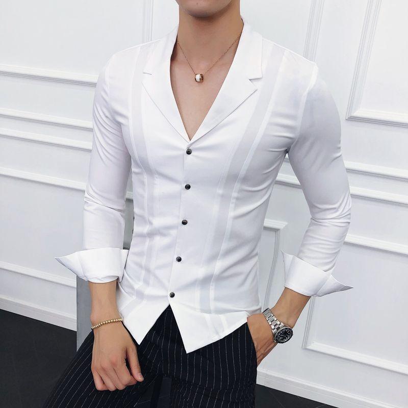 fed0e4861 Compre Roupas Masculinas 2018 Ternos Collar Camisas Dos Homens Camisas  Brancas Mens Azul Designer Preto Camisa Social Masculina Slim Fit Gomlek De  Hoeasy, ...
