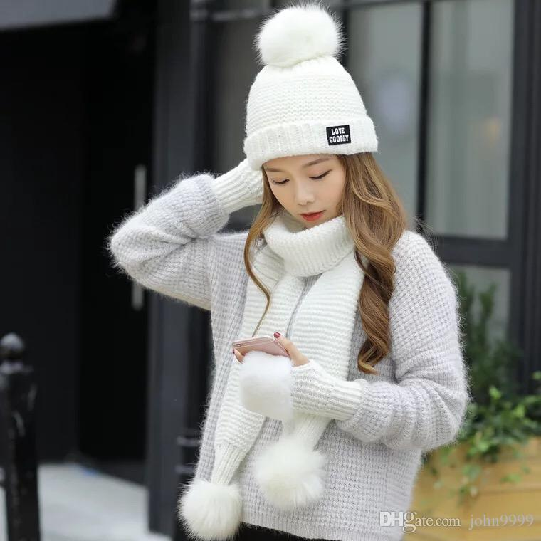f3bf9f71869 2019 Korean Version Of Autumn And Winter Fashion Ladies Wool Knit Scarf Hat  Gloves Warm Three Piece Warm From John9999