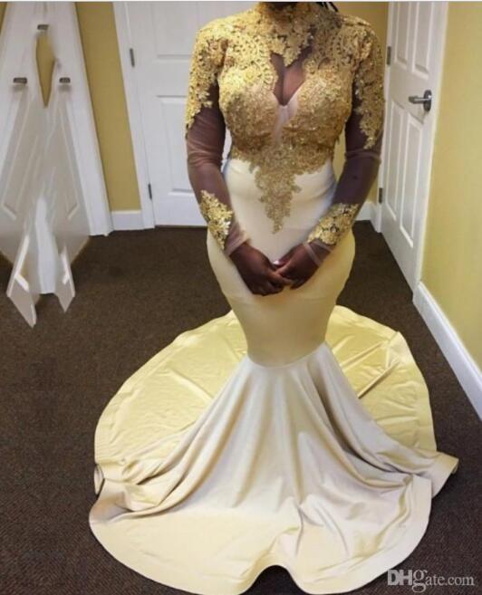 Prom Dresses oro maniche lunghe alti appliques del collo abiti da sera in raso Nigeria sexy abiti da sera 2018