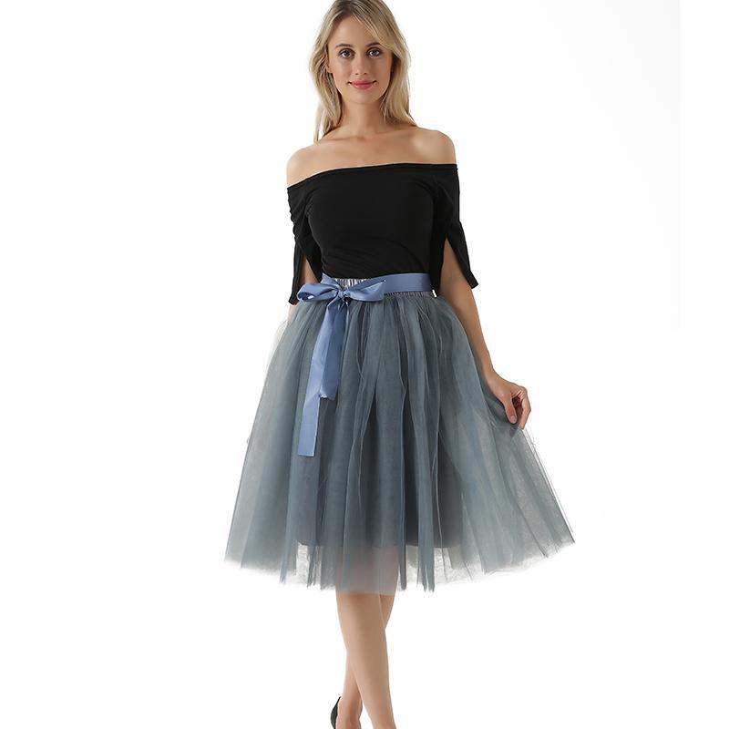 97203c803 Nueva Llegada Señoras Elegantes Cintura Elástica Plisada Tutu Falda de Tul  Faldas Adultas Mujeres Lolita Enagua Damas de honor Jupe Saia fald