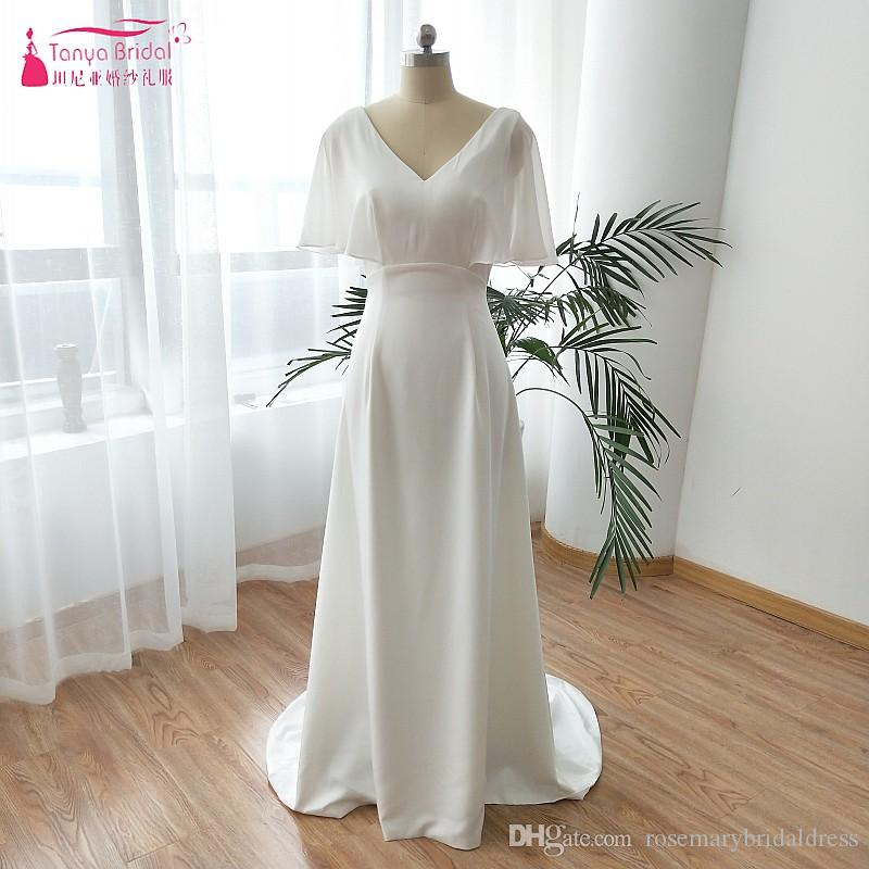c4330e5330 Soft Satin Elegant Wedding Dresses 2019 High Quality Simple Short Flare  Sleeve Bohemian robe de mariee plus size ZW101
