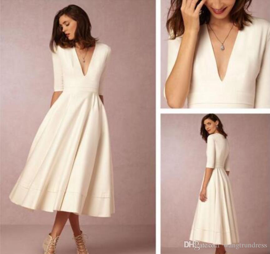 Discount Bhldn Tea Length Cheap Wedding Dresses Under 100 Deep V ...