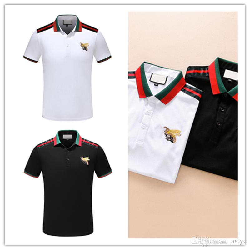abc6ce18fc7 2019 08 Italy Designer Polo Shirt T Shirts Luxury Brand Snake Bee Floral  Embroidery Mens Polos High Street Fashion Stripe Print Polo T Shirt From  Astye