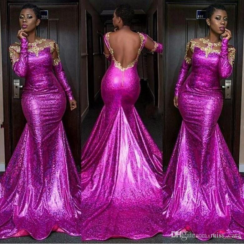African Sexy Backless Long Sleeves Abendkleider Sheer Neck Gold Appliques Meerjungfrau Pailletten Abendkleid Sparkle Party Kleider Vestidos
