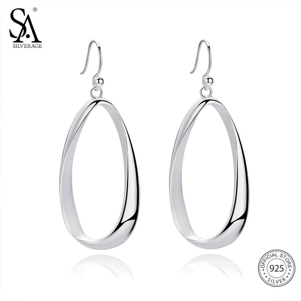 57c831d99 2019 SA SILVERAGE Real 925 Sterling Silver Twisted Drop Earrings For Women Fine  Jewelry Oval Teardrop Dangle Big Long EarringsY1882903 From Tao03, ...