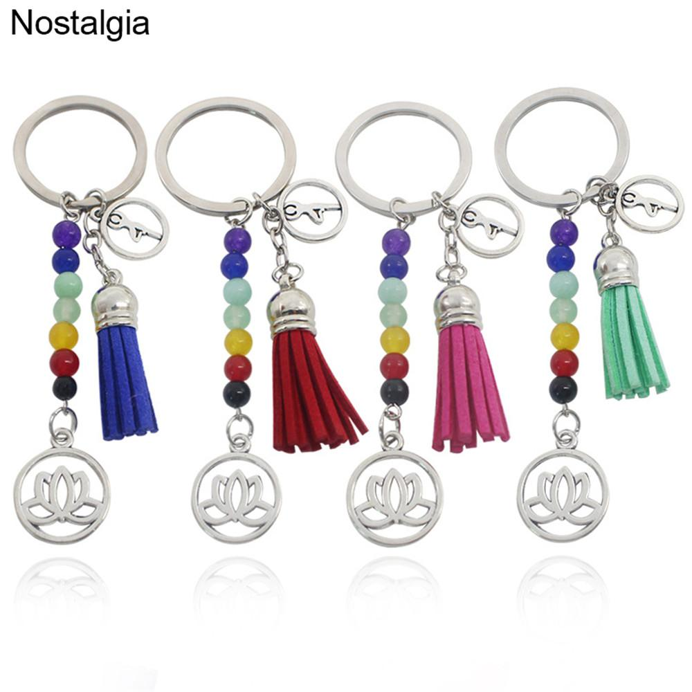 Nostalgia Om Yoga Lotus Flower Tassel Keychain Healing Chakra Stones