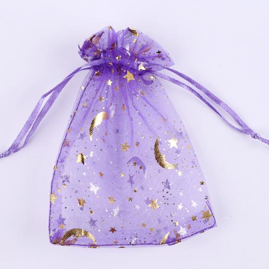 Beautiful Mixed Color Organza Bags 7x9cm 9x12cm Moon Star Small Jewelry Bags for Wedding Holiday Organizer Pouches F1738