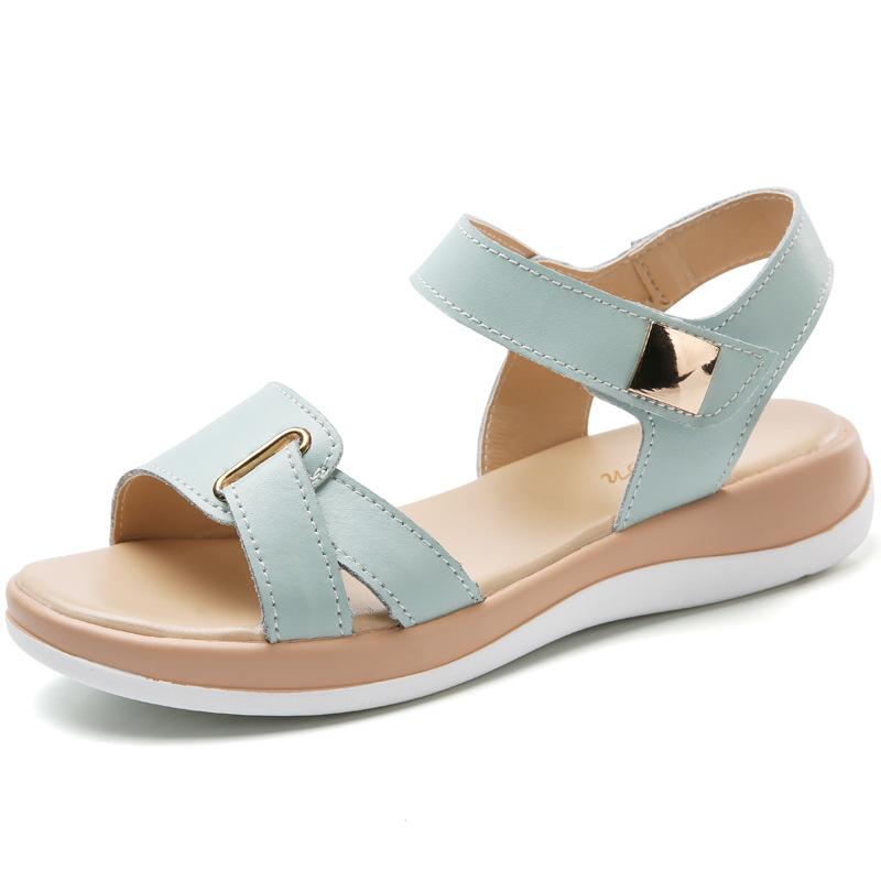 c03c6740919845 2018 New Summer Women S Sandals Female Leather Sandals Open Toe Fish Mouth  Casual Flat Shoes Slippers Footwear Sandals Fast Delivery Womens Loafers  Bamboo ...