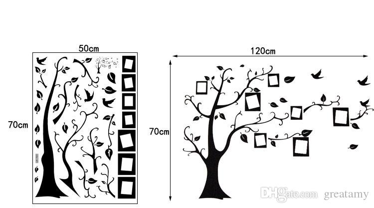 New :Large 50*70Cm/70*120in Black 3D DIY Photo Tree PVC Wall Decals/Adhesive Family Wall Stickers Mural Art Home Decor