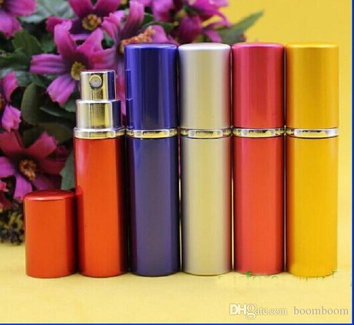 DHL free ship 5ml Mini Spray Perfume Bottle Travel Refillable Empty Cosmetic Container Perfume Bottle Atomizer Aluminum Refillable Bottles