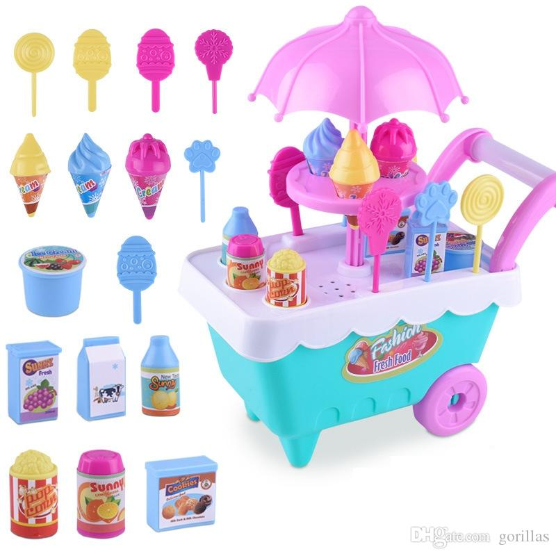 Kids Kitchen Set Children Kitchen Toys Ice Cream Car Simulation Model  Colourful Play Educational Toy for Girl Baby New