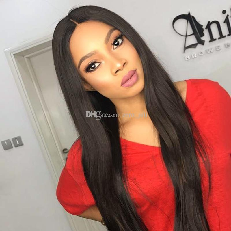 Glueless Silk Top Full Lace Wigs With Baby Hair Brazilian Silky Straight Lace Front Human Hair Wigs 5*4.5'' Silk Base Lace Wigs