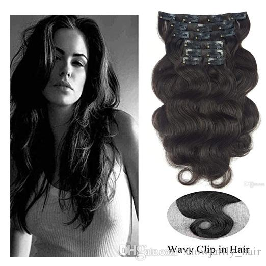 24inch Long Pure Black Clip In Human Hair Extensions For Women Body