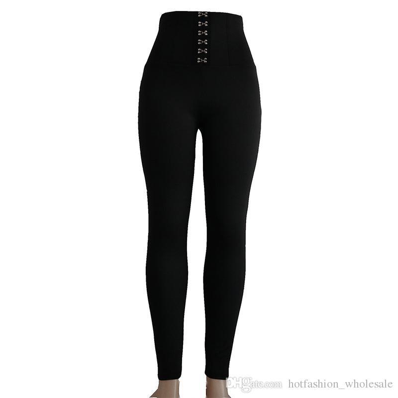 taille haute filles portant des collants meilleure qualité femmes gym sport pantalons de yoga Leggings de sport de mode avec bouton Noir S M L X