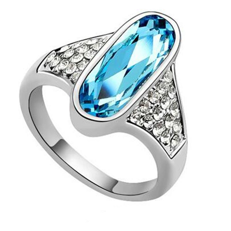 026ea540c986 Compre Joyería De Alta Calidad Para Mujer Cristal De Swarovski Elements  Anillos De Boda Y Compromiso Accesorios Para Casada Oro Blanco Plateado  6071 A  8.15 ...