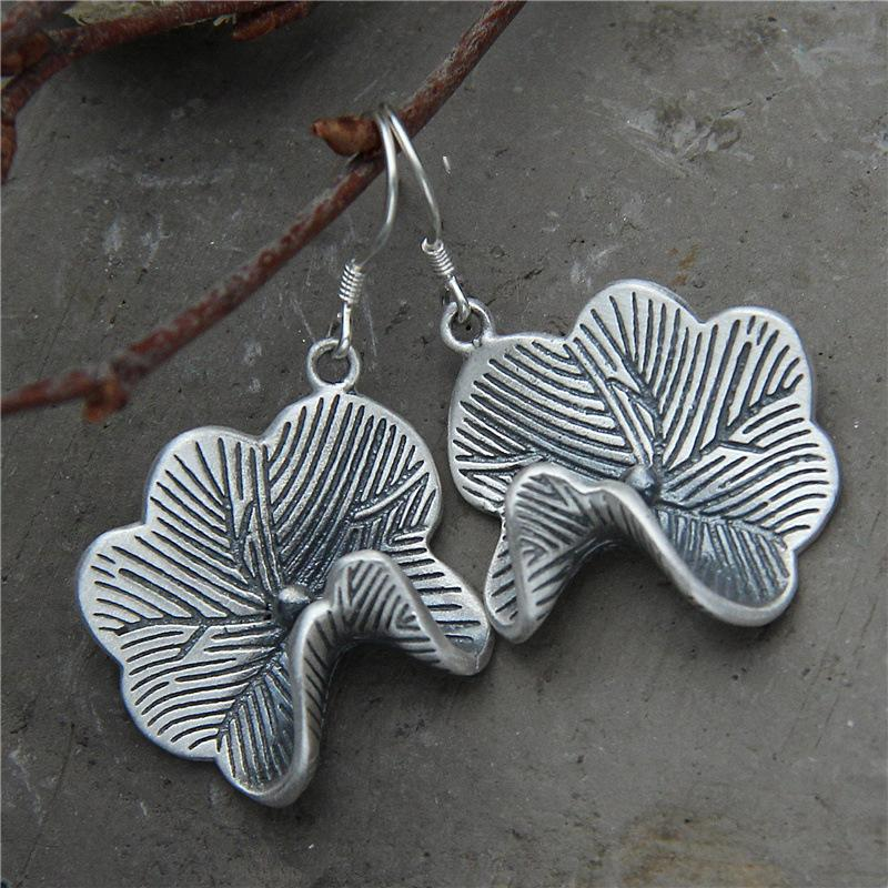 2018 Earings Fashion Jewelry Thai National Wind Restaurar Formas Antiguas Es El Contraído Lotus Leaf Earrings S925 Pure Products