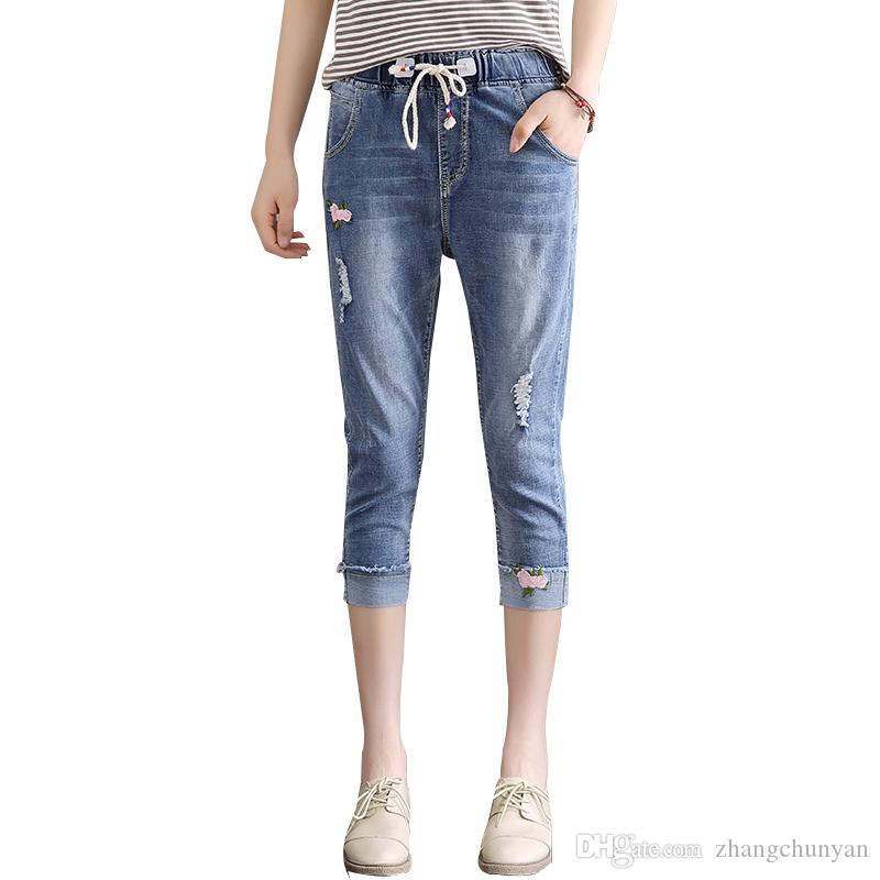2bfe9df040f 2019 Brand Wholesale 2018 Fashion New Style Jeans Mum Capris Length Pencil  Pants Mid Waist Denim Jeans Skinny For Women S Jeans Trousers Girls From ...