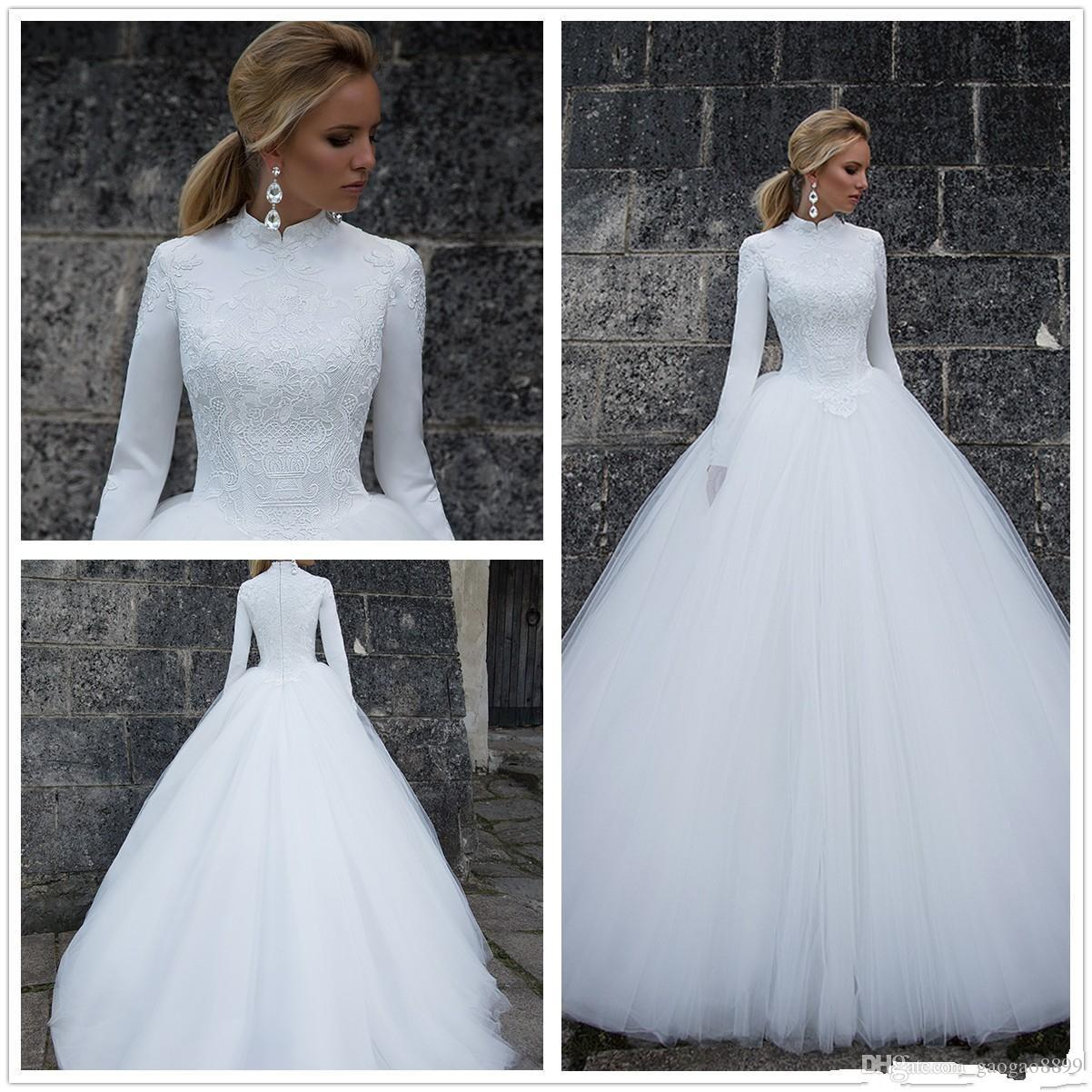 Muslim Lace Wedding Dresses 2018 A Line High Neck Long Sleeves Satin Lace Applique Zipper Tulle Winter Wedding Bridal Gowns robe de mariée