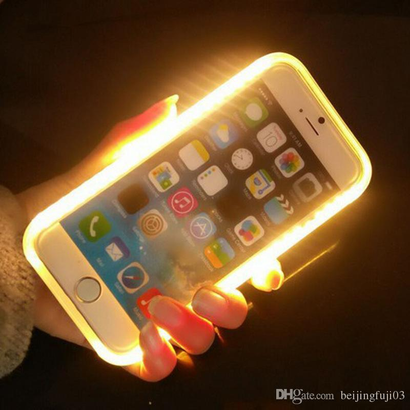 on sale 8fae3 1d034 LED Light Up Your Face Cell Phone Case For iphone X 6 7 8 plus Samsung  Galaxy S6 S7 Edge With Retail Package