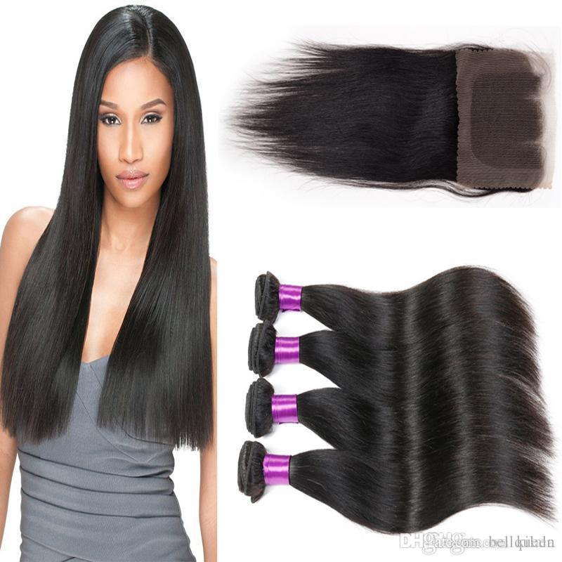Malaysian Hair Weave Straight With Closure Bleached Knots 8a