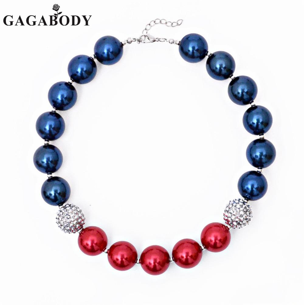 2017 Fashion 4th of July Chunky Collane Bubblegum Collana Independance Day Beads Necklace
