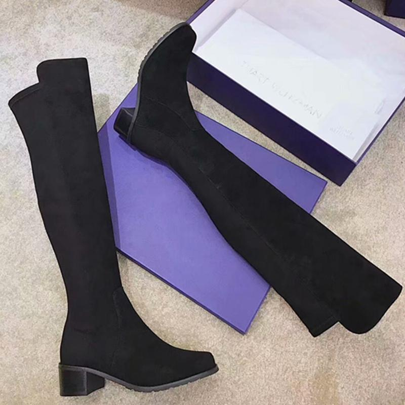 634077e103a3 Hot Women Boots Autumn Winter Ladies Fashion Flat Bottom Boots Shoes Over  The Knee Thigh High Suede Leather Long Woman Shoes Online Combat Boots From  Delina ...