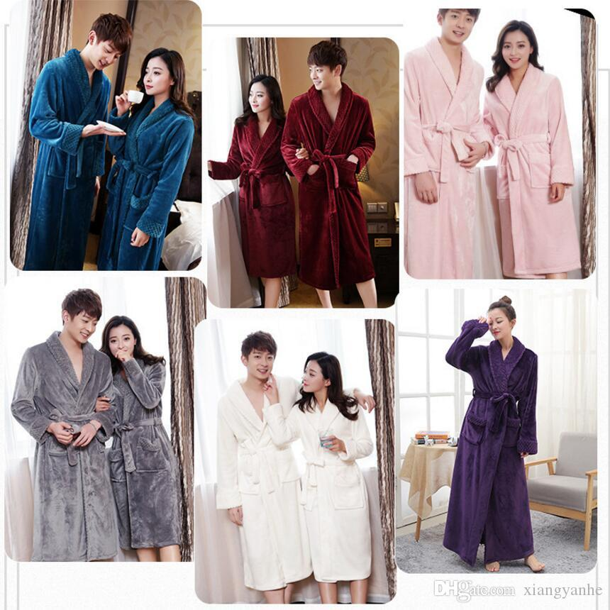 0e78cbf627 Hot Selling Lovers Long Warm Coral Fleece Bathrobe Men Winter Super Soft  Flannel Kimono Bath Robe Male Dressing Gown Mens Robes UK 2019 From  Xiangyanhe