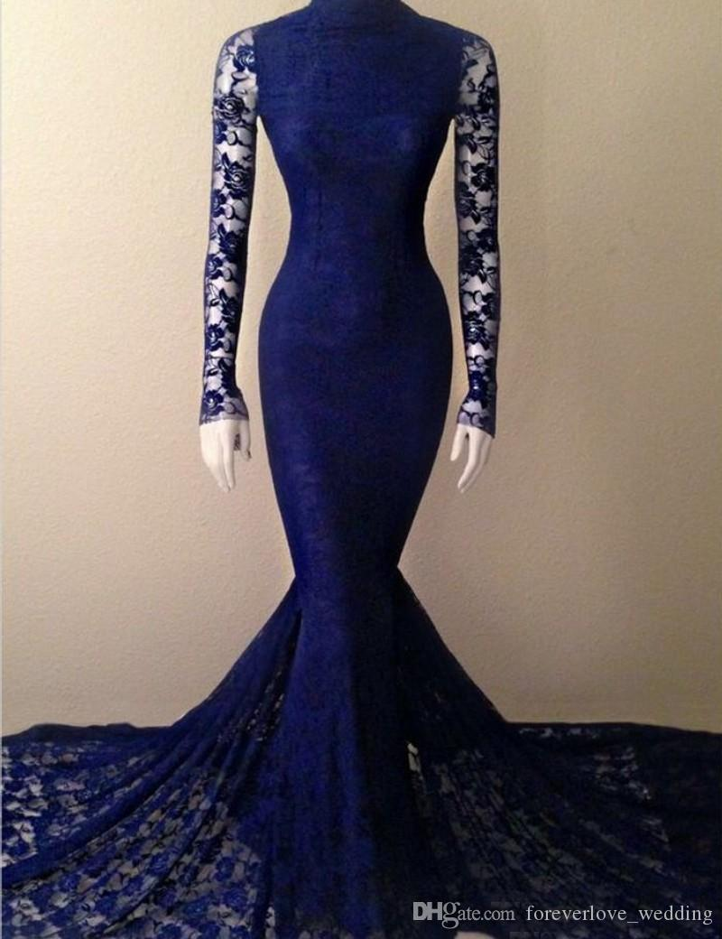 2018 Full Lace Mermaid Prom Dress Navy High Neck Illusion Long Sleeve Sweep Train Trumpet Style Evening Bridesmaid Dress Vestidos de Fiesta