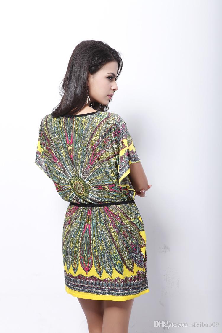 Donna Beach Bohemia Dress Seta Stampa etnica O Collo Manica corta Allentato Casual Plus Size Taglia unica M- 3XL Abiti estivi Moda