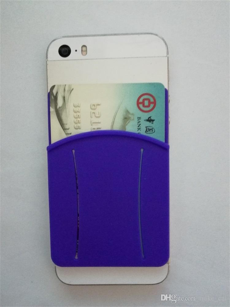 New Low price opp bag Silicone Touch Cell Phone 3m Sticker Credit Card Holder silicone card holder 3m 300lse sticker pouch for iphone
