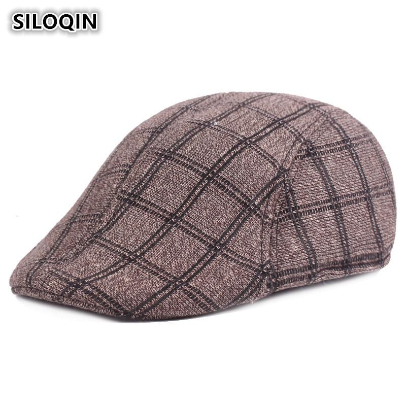 ddb2d42a SILOQIN Winter Men's Cap Cotton Warm Retro Beret British Plaid ...