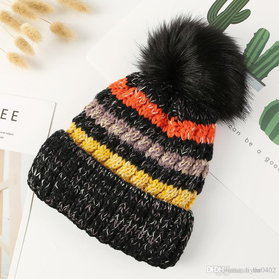 Women s Fashion Knitted Cap Autumn Winter Cotton Warm Hat Brand Heavy Hair  Ball Twist Beanies Solid Color Hip-Hop Wool Hats e7c2994efcd