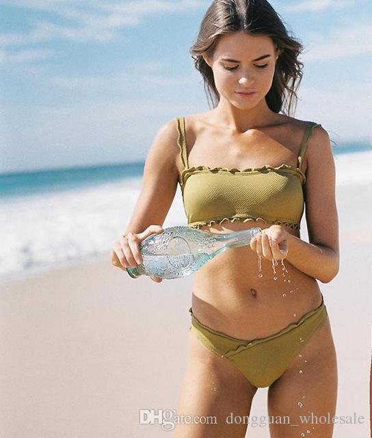 b514866420d 2019 Sexy Ruffle Bikini Swimwear Women Swimsuit Push Up Bikinis Women  Bathing Suit Biquini Brazilian Bikini Solid Beach Wear From  Dongguan_wholesale, ...